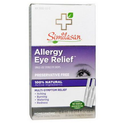 Similasan, Allergy Eye Relief Eye Drops, 20 Sterile Single-Use Droppers 0.4ml Each