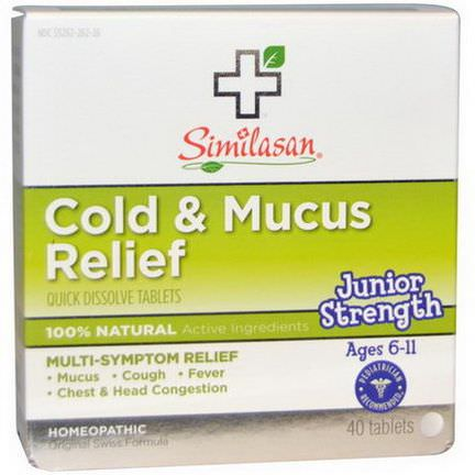Similasan, Cold&Mucus Relief, Junior Strength, 40 Quick Dissolve Tablets