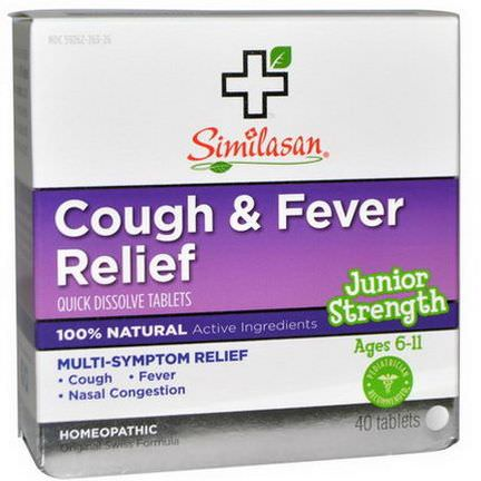 Similasan, Cough&Fever Relief, Junior Strength, 40 Quick Dissolve Tablets