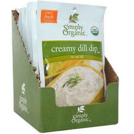 Simply Organic, Creamy Dill Dip Mix, 12 Packets 20g Each