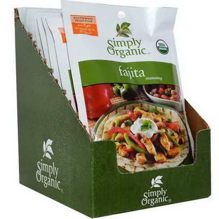 Simply Organic, Fajita Seasoning, 12 Packets 28g Each