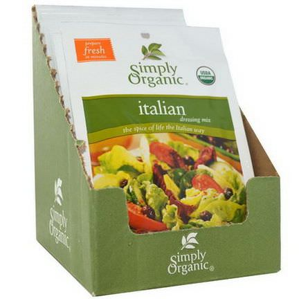 Simply Organic, Italian Dressing Mix, 12 Packets 20g Each