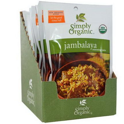 Simply Organic, Jambalaya Seasoning Mix, 12 Packets 21g Each