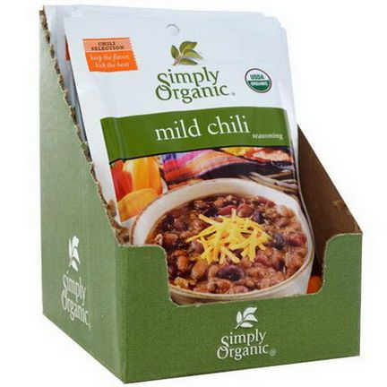 Simply Organic, Mild Chili Seasoning, 12 Packets 28g Each