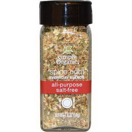 Simply Organic, Organic Spice Right Everyday Blends, All-Purpose Salt-Free 51g