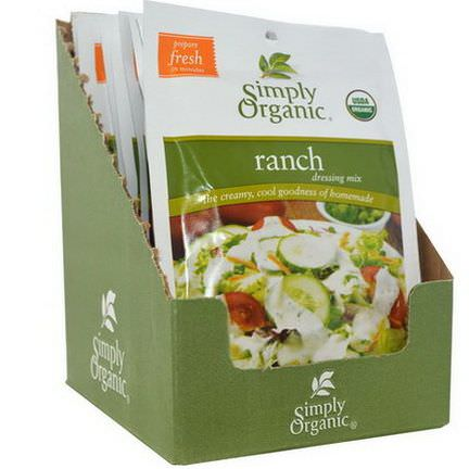 Simply Organic, Ranch Dressing Mix, 12 Packets 28g Each
