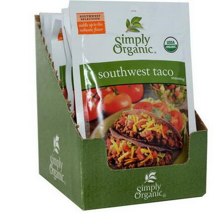 Simply Organic, Southwest Taco Seasoning, 12 Packets 32g Each