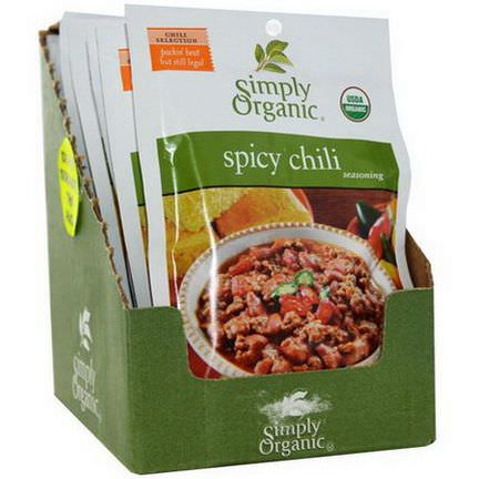 Simply Organic, Spicy Chili Seasoning, 12 Packets 28g Each
