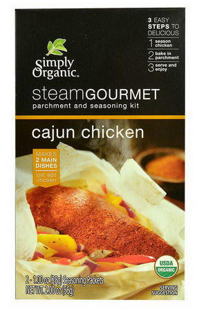 Simply Organic, Steam Gourmet, Parchment and Seasoning Kit, Cajun Chicken, 2 Packets 28g Each