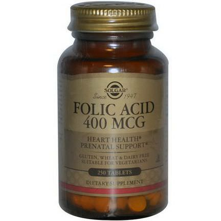 Solgar, Folic Acid, 400mcg, 250 Tablets
