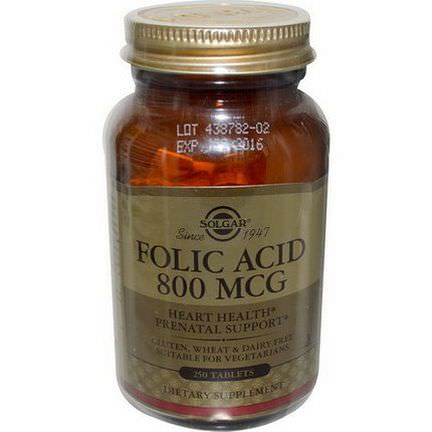 Solgar, Folic Acid, 800mcg, 250 Tablets