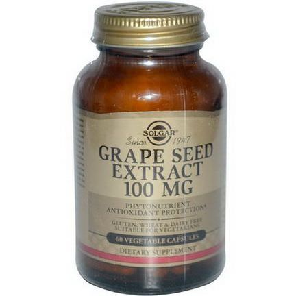 Solgar, Grape Seed Extract, 100mg, 60 Veggie Caps