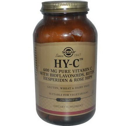 Solgar, HY-C, Vitamin C, with Bioflavonoids, Rutin, Hesperidin&Rose Hips, 250 Tablets