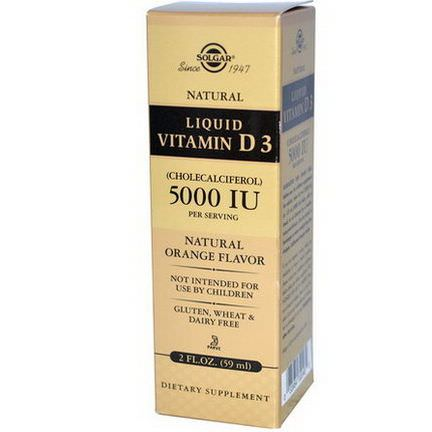 Solgar, Liquid Vitamin D3, 5000 IU Per Serving, Natural Orange Flavor 59ml