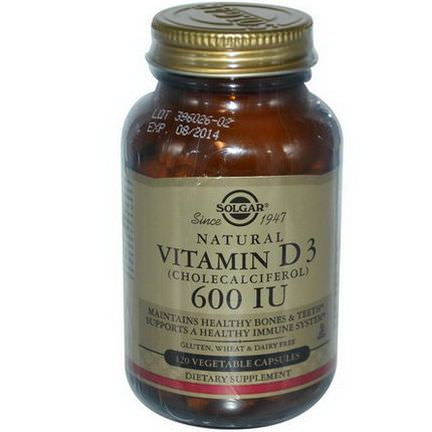 Solgar, Natural Vitamin D3, 600 IU, 120 Veggie Caps