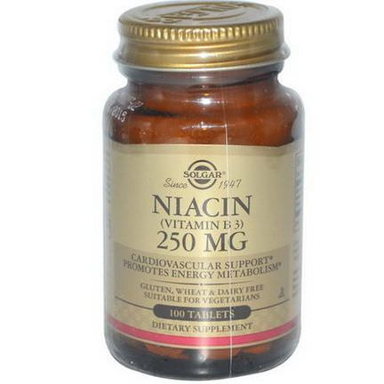 Solgar, Niacin, 250mg, 100 Tablets