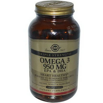 Solgar, Omega-3 EPA&DHA, Triple Strength, 950mg, 100 Softgels