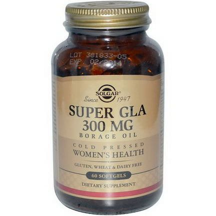 Solgar, Super GLA, Borage Oil, Women's Health, 300mg, 60 Softgels
