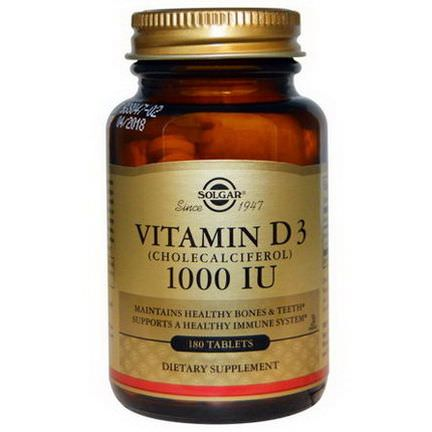 Solgar, Vitamin D3, 1000 IU, 180 Tablets