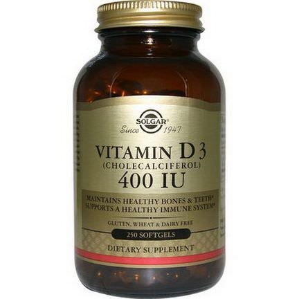 Solgar, Vitamin D3, 400 IU, 250 Softgels