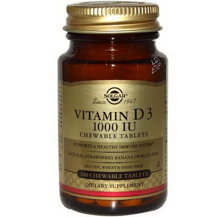 Solgar, Vitamin D3, Natural Strawberry Banana Swirl Flavor, 1000 IU, 100 Chewable Tablets