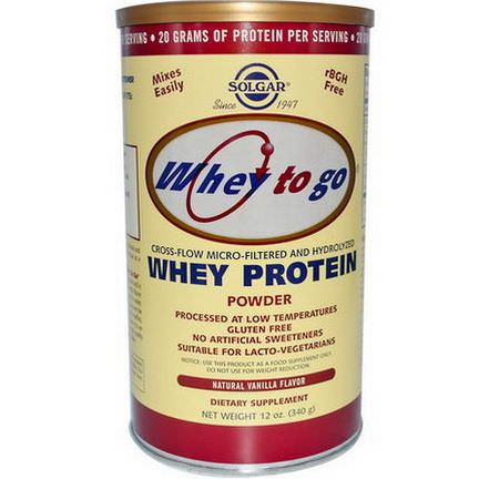 Solgar, Whey To Go, Whey Protein Powder, Natural Vanilla Flavor 340g