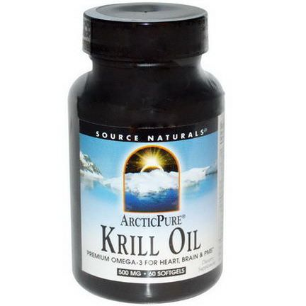Source Naturals, Arctic Pure, Krill Oil, 500mg, 60 Softgels