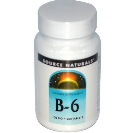 Source Naturals, B-6, 100mg, 250 Tablets