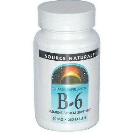 Source Naturals, B-6, 50mg, 250 Tablets