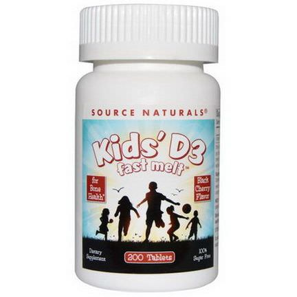 Source Naturals, Kids'D3, Fast Melt, Black Cherry Flavor, 200 Tablets