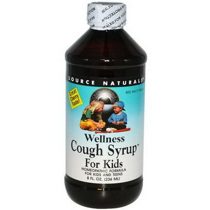 Source Naturals, Wellness Cough Syrup For Kids, Great Cherry Taste 236ml