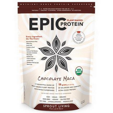 Sprout Living, Epic Protein, Chocolate Maca 454g