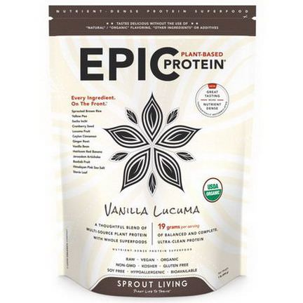Sprout Living, Epic Protein, Vanilla Lucuma 454g