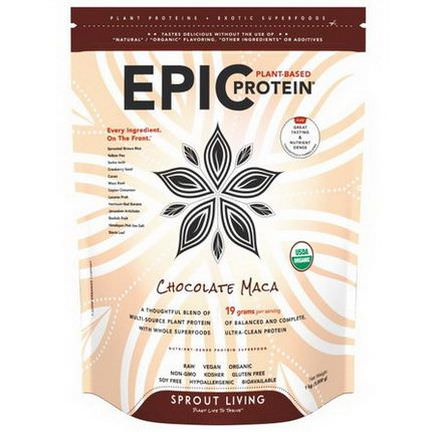 Sprout Living, Organic, Epic Protein, Chocolate Maca 1,000g