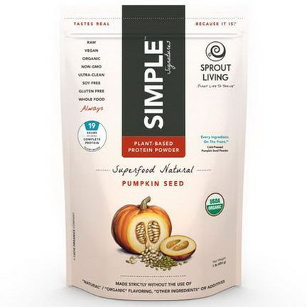 Sprout Living, Simple Protein, Organic Plant Based Protein Powder, Pumpkin Seed 454g