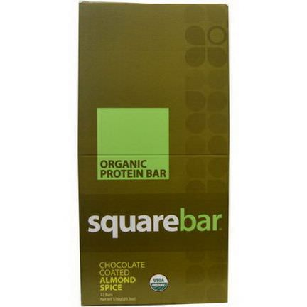 Squarebar, Organic Protein Bar, Chocolate Coated Almond Spice, 12 Bars 48g Each