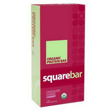 Squarebar, Organic Protein Bar, Chocolate Coated Cherry, 12 Bars 48g Each
