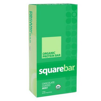 Squarebar, Organic Protein Bar, Chocolate Coated Mint, 12 Bars 48g Each