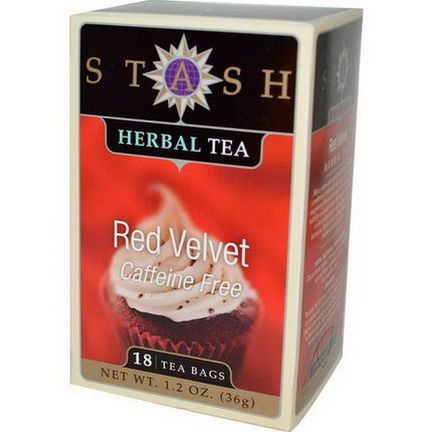 Stash Tea, Herbal Tea, Red Velvet, Caffeine Free, 18 Tea Bags 36g