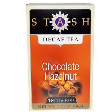 Stash Tea, Premium, Decaf Tea, Chocolate Hazelnut, 18 Tea Bags 36g