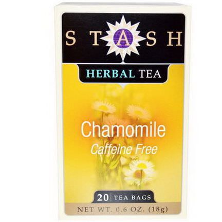 Stash Tea, Premium, Herbal Tea, Chamomile, Caffeine Free, 20 Tea Bags 18g