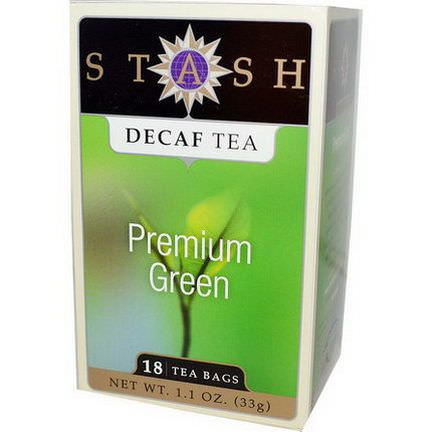 Stash Tea, Premium Green, Decaf Tea, 18 Tea Bags 33g
