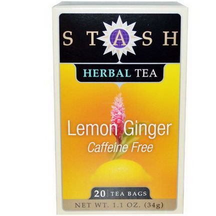 Stash Tea, Premium, Lemon Ginger Herbal Tea, Caffeine Free, 20 Tea Bags 34g