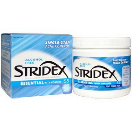 Stridex, Single-Step Acne Control, Alcohol Free, 55 Soft Touch Pads, 4.21 In Each