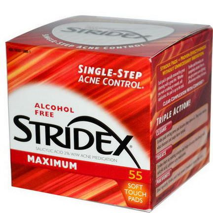 Stridex, Single-Step Acne Control, Maximum, Alcohol Free, 55 Soft Touch Pads