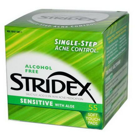 Stridex, Single-Step Acne Control, Sensitive with Aloe, Alcohol Free, 55 Soft Touch Pads