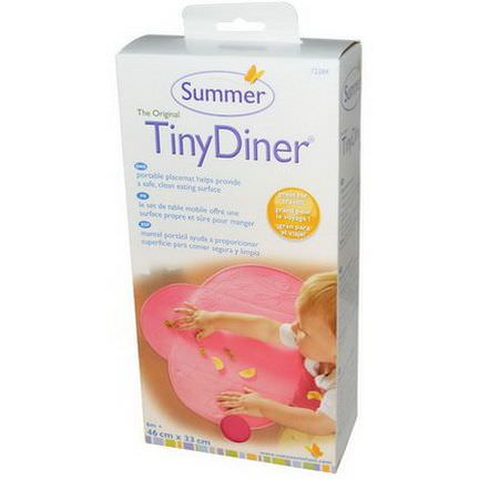 Summer Infant, Tiny Diner, Portable Placemat, Pink, 1 Mat