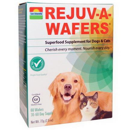 Sun Chlorella, Rejuv-A-Wafers, Superfood Supplement for Dogs&Cats, 60 Wafers