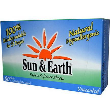 Sun&Earth, Fabric Softener Sheets, Unscented, 80 Sheets, 6.4 in x 9 in Each