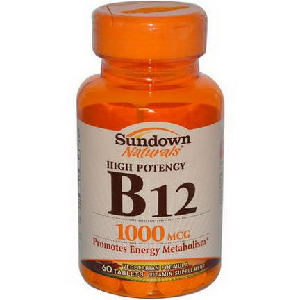 Rexall Sundown Naturals, High Potency B-12, 1000mcg, 60 Tablets